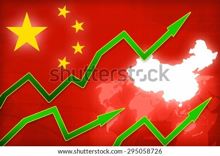 financial crisis in China red arrow - concept news background illustration - stock photo