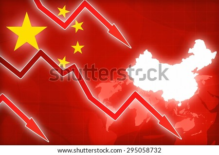 financial crisis in China red arrow - concept news background illustration