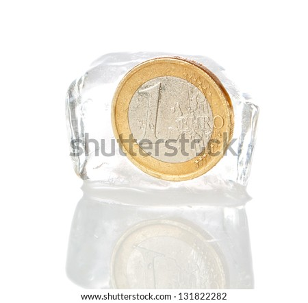 Financial crisis in Europe, inflation, the euro. Euro frozen on a white background. - stock photo