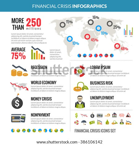 Financial Crisis Recession Statistic Infographics Layout - stock photo