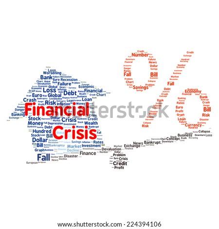 Financial crisis word cloud shape concept - stock photo