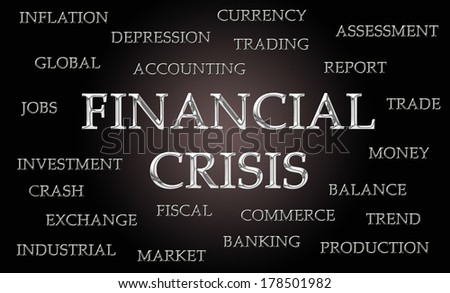 Financial crisis word cloud written in luxurious chrome letters - stock photo