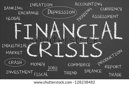 Financial crisis word cloud written on a chalkboard - stock photo
