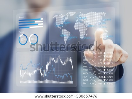 Financial dashboard with key performance indicators and charts analyzing stock market prices, businessman touching business kpi