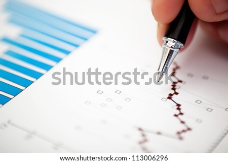 Financial data analyzing. Macro. - stock photo