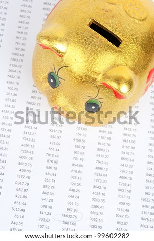 Financial data and piggy bank - stock photo