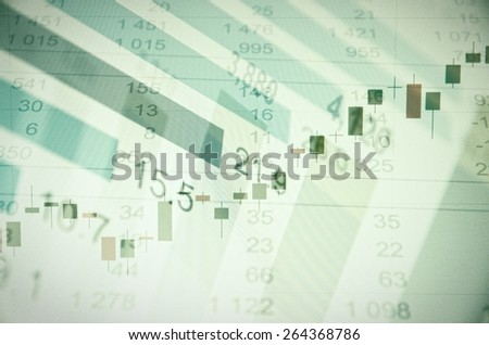 Financial data(growth stock chart, quotes and other) on PC screen. Analyzing of financial data. - stock photo