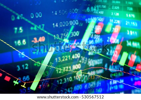 Financial Data On Monitor Finance Data Stock Photo 520990084
