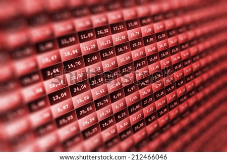 Financial data- stock exchange - red screen symbolizes losses. Stock market ticker board black and red collapse. Crash recession on Wall Street. Going down on red display monitor.  Shallow DOF effect - stock photo