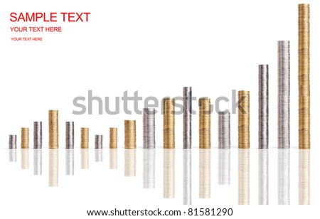 financial diagram from coins stacks isolated on white - stock photo