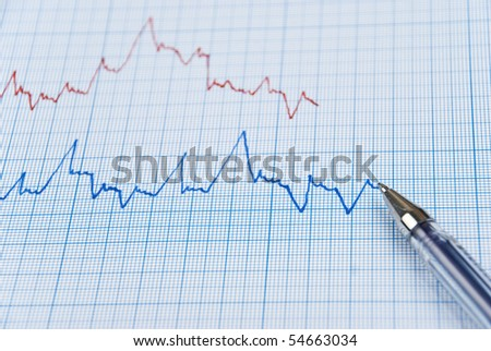 Financial diagram made on millimeter paper in two colors ,red pen on the bottom line - stock photo