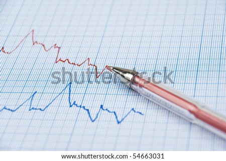 Financial diagram made on millimeter paper in two colors ,red pen on the top line - stock photo