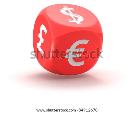 Financial dice on the white background - stock photo