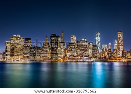 Financial District at dusk, in New York City - stock photo