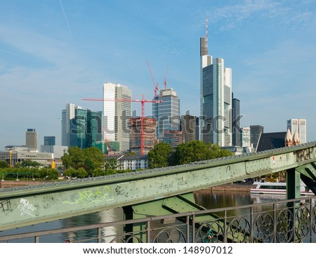 financial district in frankfurt main seen from the old historic bridge eiserner steg