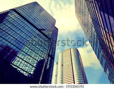 Financial district in Hong Kong - stock photo