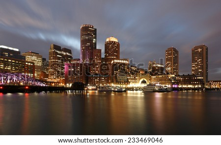 Financial District of Boston at Sunset, Boston, Massachusetts, USA
