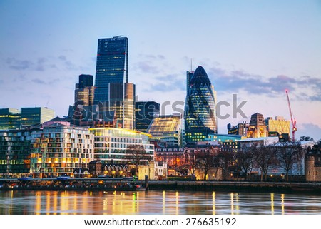 Financial district of the City of London in the morning - stock photo