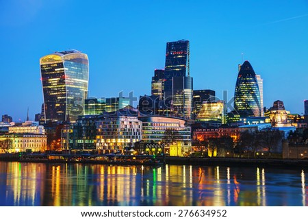 Financial district of the City of London in the night - stock photo