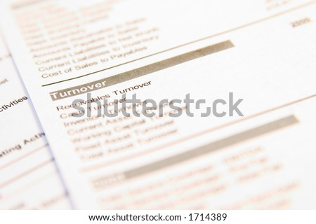 "Financial document with focus on the word ""Turnover"". Very easy to shift colours."