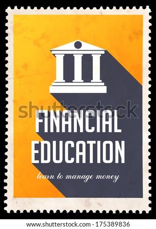 Financial Education on Yellow Background. Vintage Concept in Flat Design with Long Shadows. - stock photo