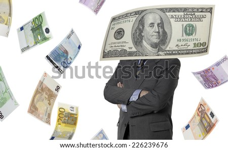Financial executive with euro and dollar bills isolated on white
