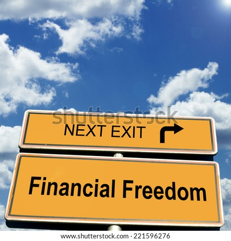 Financial Freedom Road Sign - stock photo
