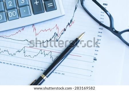 Financial graph analysis - stock photo