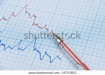 Financial graph made on millimeter paper in two colors ,red pen on the top line - stock photo