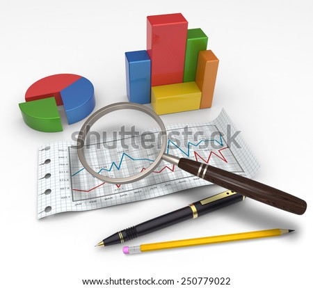 Financial graphs and charts analysis as concept - stock photo
