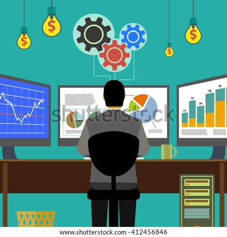 Financial graphs and charts. Monitor computer, work place broker. Stock Exchange. Make money. Stock illustration. - stock photo