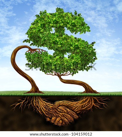 Financial growth agreement with two trees in the shape of a dollar sign and the roots in the form of hands shaking in partnership of a contract deal  for wealth success on a blue sky. - stock photo
