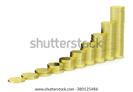 Financial growth and business success creative concept - growing golden bar chart contains of gold dollars coins isolated on white background 3d illustration - stock photo