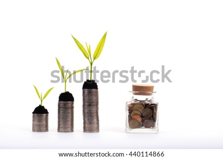Financial growth concept, Coins and seed over white background, Saving money concept, Money jar - stock photo