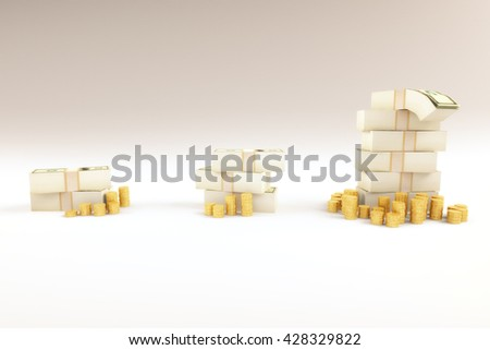 Financial growth concept with growing coins and money stacks on light background. 3D Rendering - stock photo