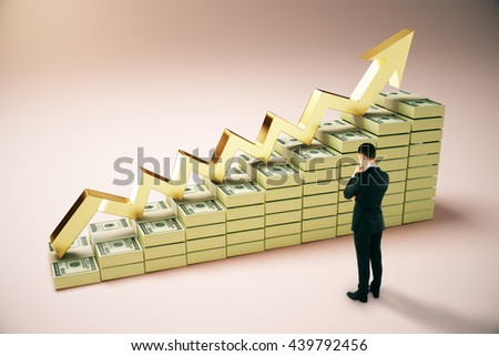 Financial growth concept with thoughtful businessperson next to dollar banknote ladder and golden upward arrow on pinkish background. 3D Rendering - stock photo