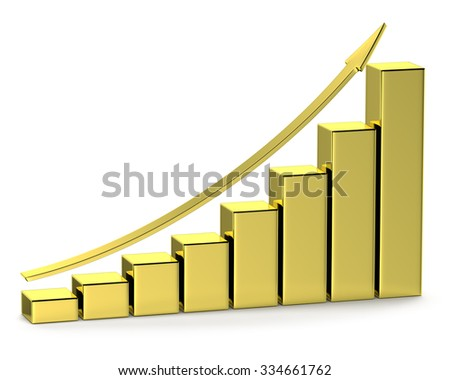 Financial growth, investment success and financial business and banking development concept: growing bar chart made of gold with upward arrow with reflections isolated on white, 3d illustration - stock photo