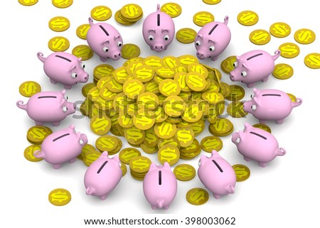 Financial happiness. Pink piggy banks surrounded the pile of gold coins with the symbol of the American dollar. Financial concept. 3D illustration. Isolated - stock photo