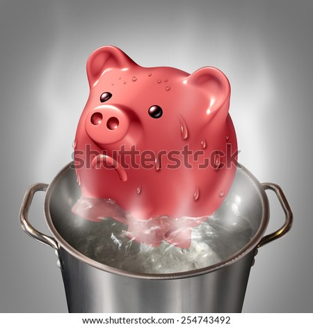 Financial heat business concept as a piggybank in a pot of hot boiling water as a symbol for money problems and budget savings stress and finance anxiety. - stock photo
