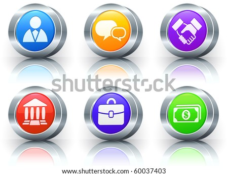 Financial Icons on Reflective Button with Metallic Rim Collection Original Illustration - stock photo