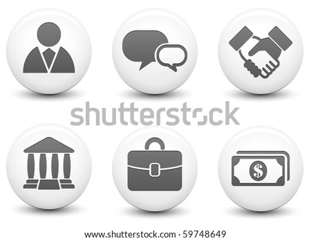 Financial Icons on Round Black and White Button Collection Original Illustration - stock photo