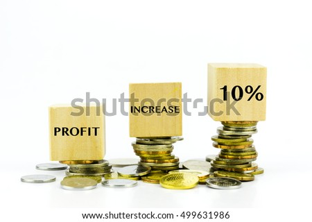 Financial increase concept - Stack of coins and 10% written