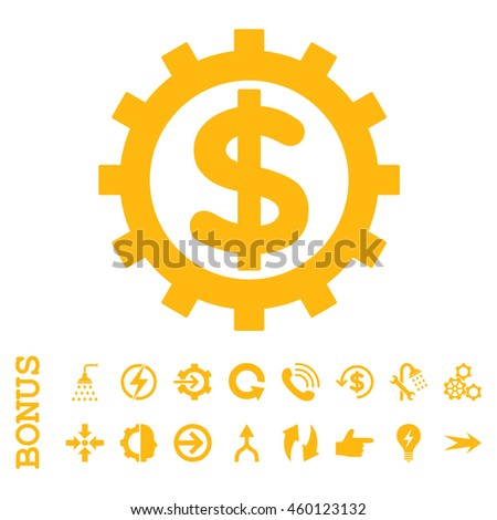 Financial Industry glyph icon. Image style is a flat iconic symbol, yellow color, white background. - stock photo