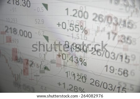 Financial information on PC monitor. Trading terminal on PC monitor. Rising stock chart with moving averages & quotes. Multiple exposure. - stock photo