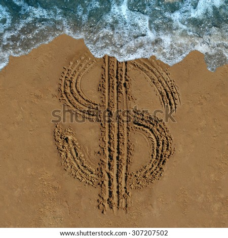 Financial loss business concept as a drawing of a money symbol drawn on a beach being washed out by an ocean wave as an economic icon for currency change or fading budget and laundering of finances. - stock photo