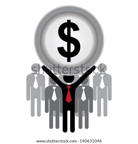 Financial Operation, MLM, Money Working, Job Career or Job Opportunity Concept Present by Group of Businessman With Dollar Sign on Hand Isolated on White Background - stock photo