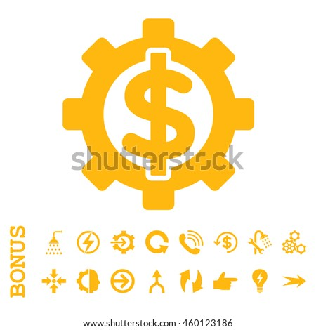 Financial Options glyph icon. Image style is a flat pictogram symbol, yellow color, white background. - stock photo