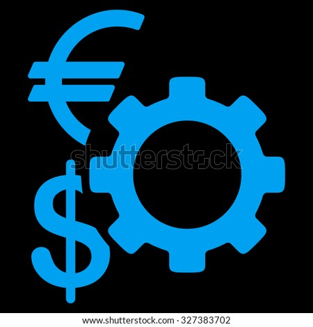 Financial Options glyph icon. Style is flat symbol, blue color, rounded angles, black background.