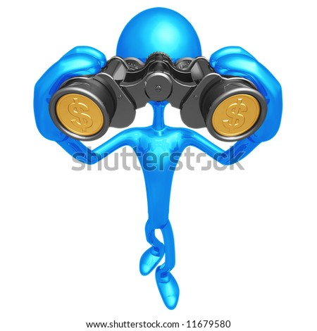 Financial Outlook Binoculars With Gold Coin Lenses - stock photo