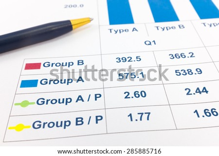 Financial paper charts and graphs.
